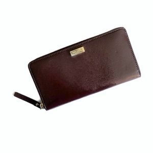 Kate Spade Patent Leather Zip Wallet - Wine NWT